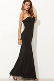 BLACK BANDEAU MAXI DRESS