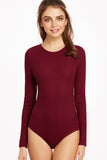 BOW DETAIL OPEN BACK BODYSUIT BURGUNDY