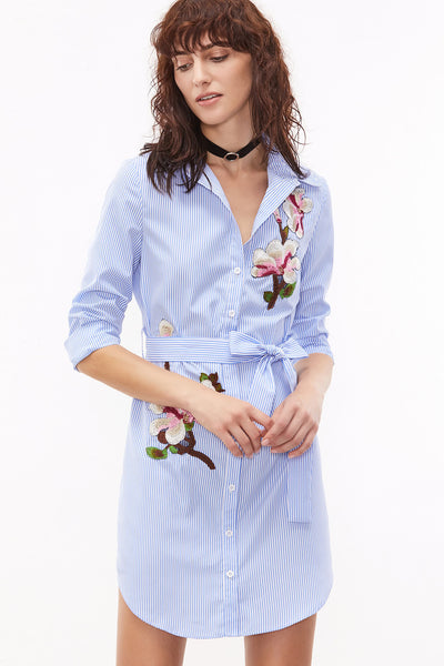 PINSTRIPE SELF BELTED EMBROIDERED SHIRT DRESS