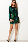 GREEN IRIDESCENT SEQUIN DRESS RTS