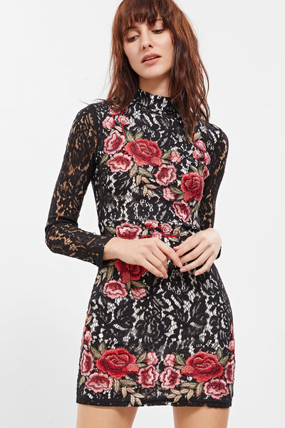ALL OVER LACE EMBROIDERED DRESS