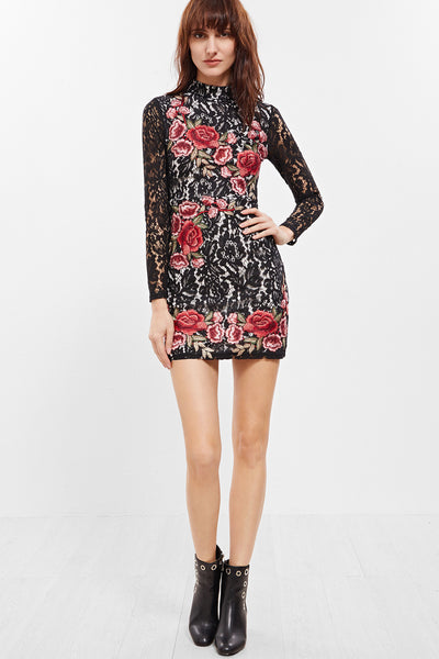 ALL OVER MULTI EMBROIDERED ROSE DRESS