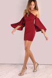 MAROON ASYMETRIC BELL SLEEVE DRESS