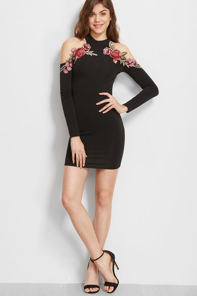 ROSE EMBROIDERED CUT OUT DRESS