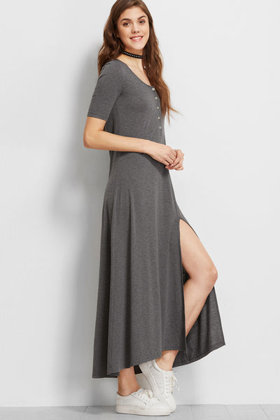 BUTTON FRONT GREY MAXI DRESS