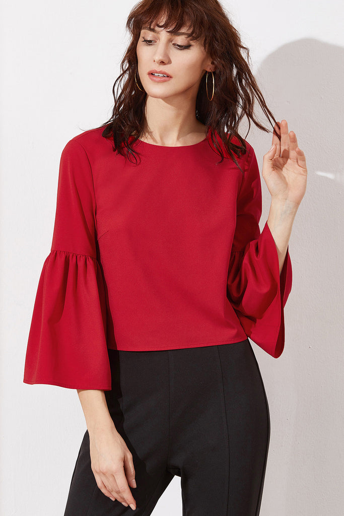 c3022e38a2233 RED BUTTONED UP BELL SLEEVE TOP – Rare Collect