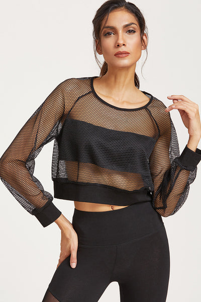 BLACK NETTED CROP SWEATSHIRT