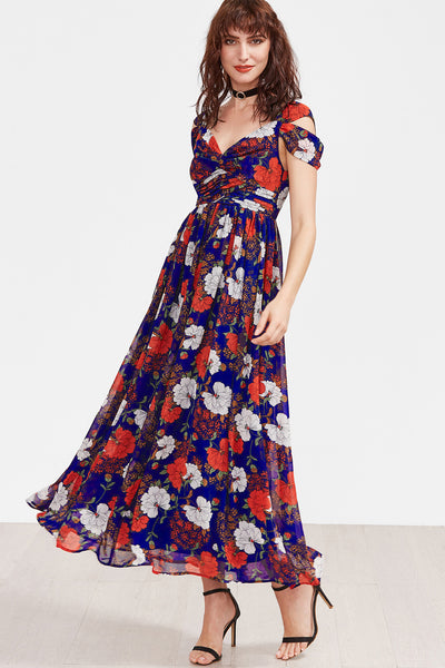 MULTI FLORAL COLD SHOULDER MAXI DRESS