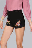 BLACK EMBROIDERED SHORTS