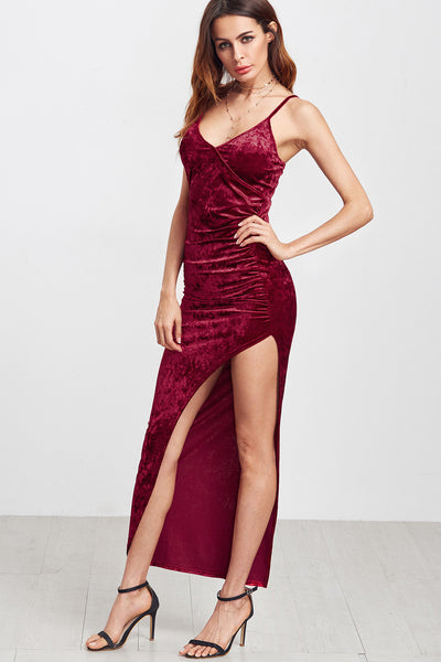 BURGUNDY HIGH SLIT MAXI DRESS