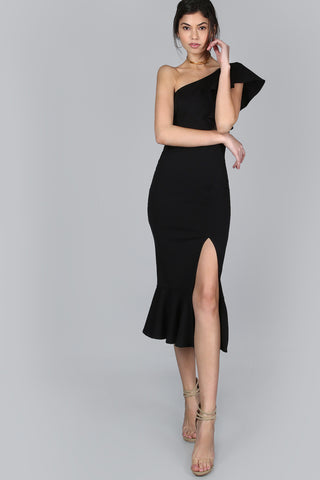 TWIST FRONT FLOUNCE HEM ONE SHOULDER DRESS