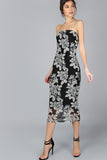 BLOOM BLACK FLORAL BANDEAU MIDI DRESS RTS
