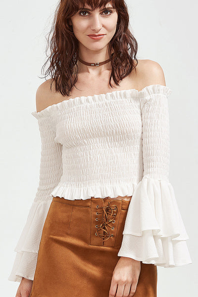 60cfb6eda72fc0 WHITE CRINKLE OFF SHOULDER TOP – Rare Collect