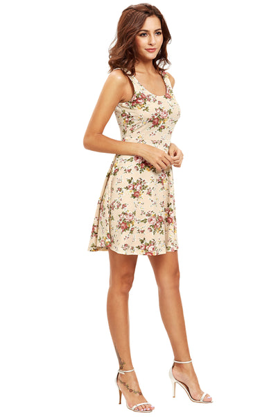 FLORAL HIGH QUALITY COTTON SKATER DRESS