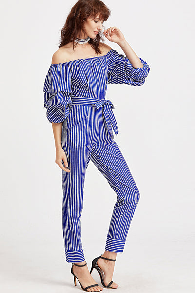 BLUE STRIPED TIER SLEEVE JUMPSUIT