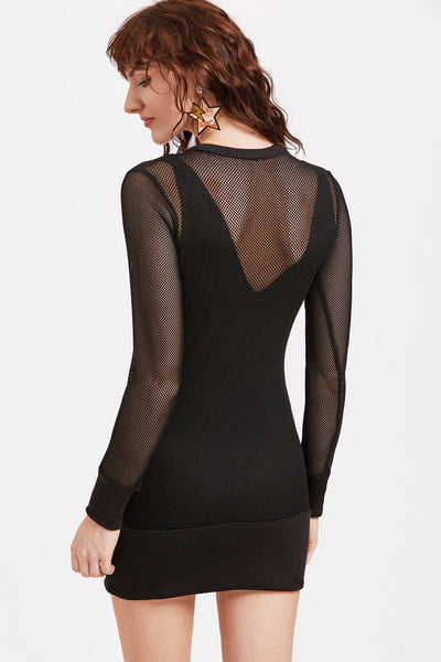 BLACK MESH TWO IN ONE DRESS