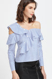 ASYMMETRIC RUFFLE TOP STRIPE