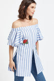 FLUTTER SLEEVE STRIPED EMBROIDERED OFF SHOULDER TOP