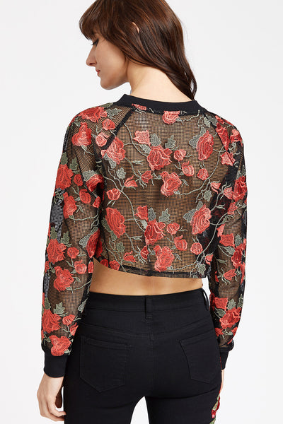 ALL OVER EMBROIDERED NETTED CROP SWEATSHIRT