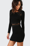 BLACK WHIPSTITCH DETAIL DRESS