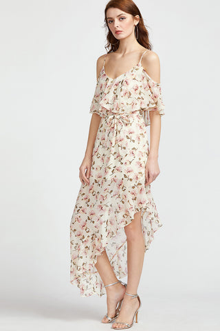 POCKET OPEN SHOULDER SPLIT MAXI DRESS