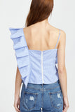 ALL OVER FRILL STRIPE TOP BLUE