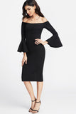 BARDOT FLUTED SLEEVE SLIT BACK DRESS