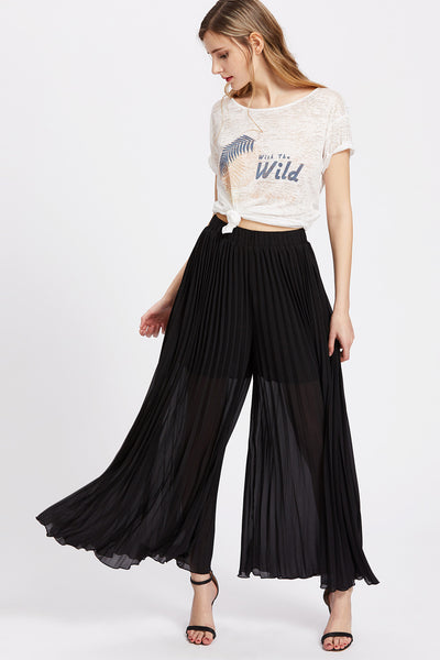 f89f3e3b4e75 CLASSY BLACK PLEATED CULOTTE PANTS – Rare Collect