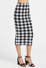 ELASTICIZED WAIST CHECKERED MIDI PENCIL SKIRT