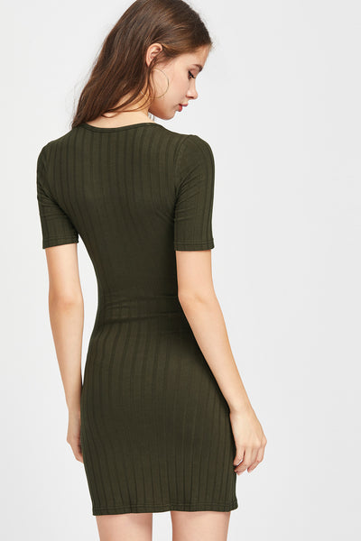 GREEN BELTED WAIST DRESS