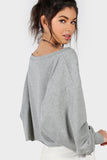 GRAPHIC PRINT DROP SHOULDER LANTERN SLEEVE SWEATSHIRT