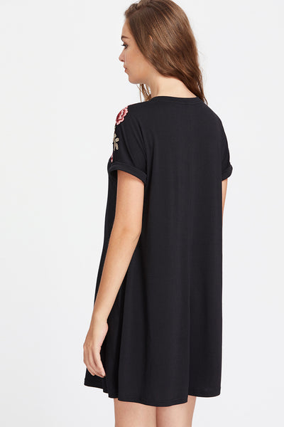 EMBROIDERED JERSEY FLARE DRESS