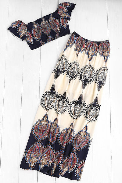 BARDOT NECKLINE VINTAGE PRINT CROP TOP WITH MAXI SKIRT
