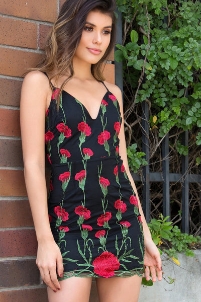 LACE UP EMBROIDERED MESH OVERLAY CAMI DRESS