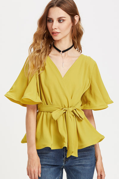FLUTTER SLEEVE BELTED SURPLICE WRAP TOP
