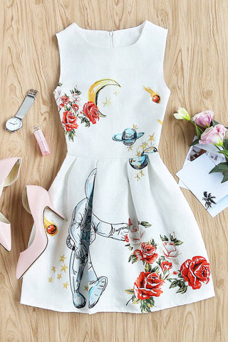 MESH PANEL FLOWER EMBROIDERED DRESS