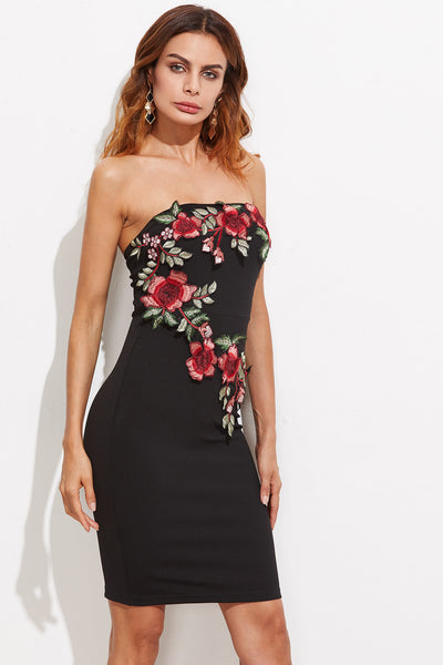 EMBROIDERED BLOSSOM EMBELLISHED BANDEAU DRESS