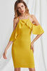 MUSTARD COLD SHOULDER DRESS