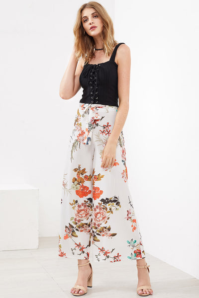 BOTANICAL PRINT SELF BELTED CULOTTE PANTS