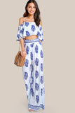 PRINTED FLOUNCE COLD SHOULDER TOP AND PALAZZO PANTS SET