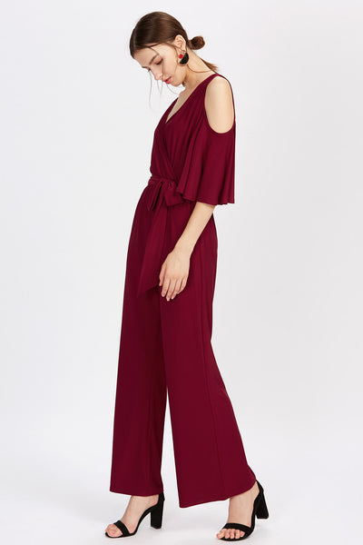 BURGUNDY COLD SHOULDER JUMPSUIT