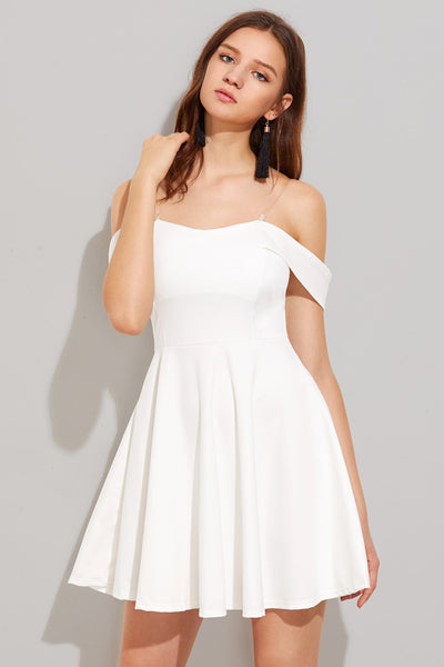 OFF SHOULDER SWING DRESS WITH REMOVABLE STRAPS
