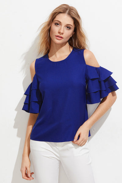 ca8355f0a5a7b OPEN SHOULDER LAYERED BELL SLEEVE TOP – Rare Collect