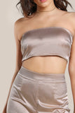 SATIN SOLID BANDEAU & MATCHING PANTS SET