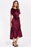 V BACK RUFFLE DIP HEM CRUSHED VELVET DRESS