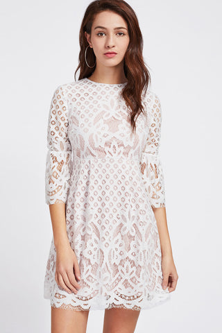 FLORAL LACE YOKE SWEETHEART NECK DRESS