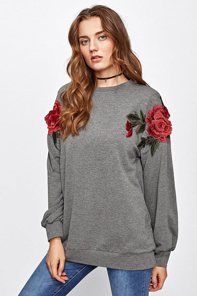 3D ROSE APPLIQUE HEATHER KNIT PULLOVER