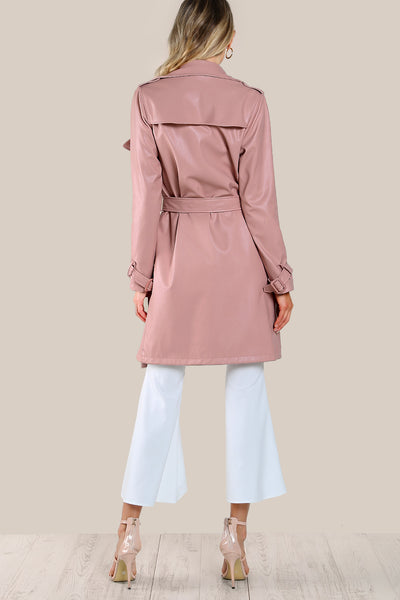 BELTED WAIST AND CUFF FAUX LEATHER COAT