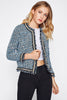 PEARL BEADING FRAYED TWEED BLAZER