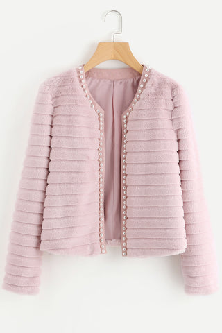 COLOR BLOCK FAUX FUR COAT